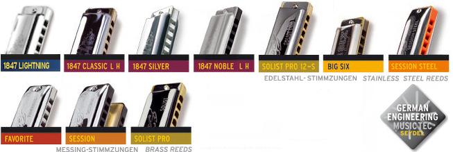 Pitch range of harmonicas - C A  SEYDEL SÖHNE